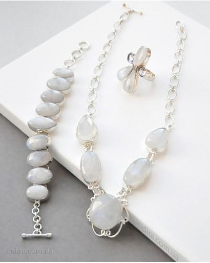 Лунный камень бусы, браслет и кольцо