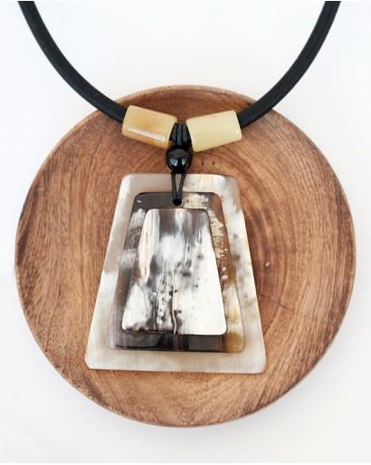 Horn pendant on a black cord