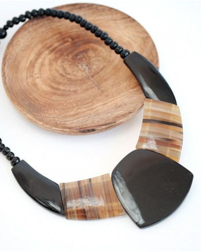 Horn necklace with black center