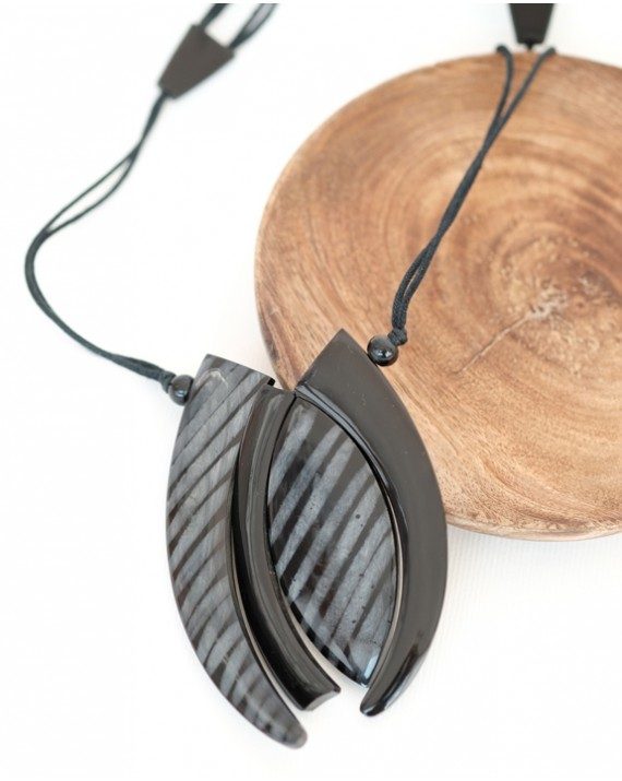 Black striped pendant on black cords