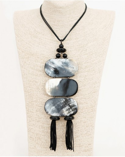 Horn Pendant With Tassels