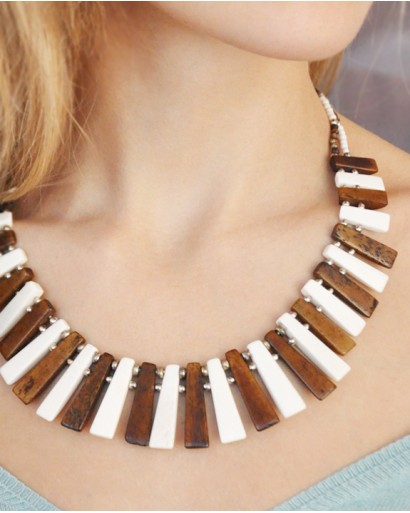 Bone necklace, brown and milky white