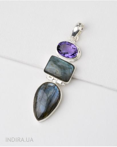 Labradorite and Amethyst Pendant