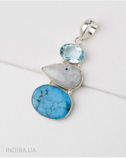 Turquoise and Moonstone Pendant