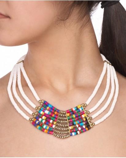 Bone multi layered short necklace