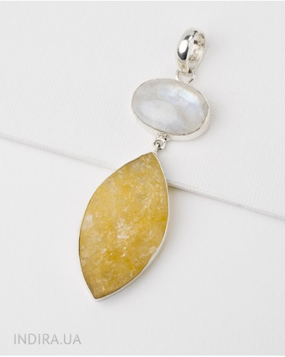 Moonstone and Citrine Druse Pendant