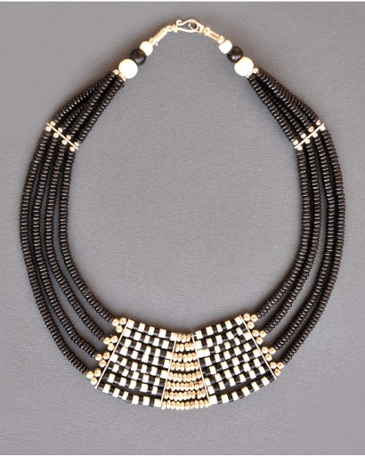 Bone multi layered black and white necklace