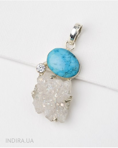Turquoise and Druse Quartz Pendant