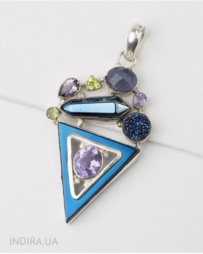 Hematite, Amethyst and Chrysolite Pendant