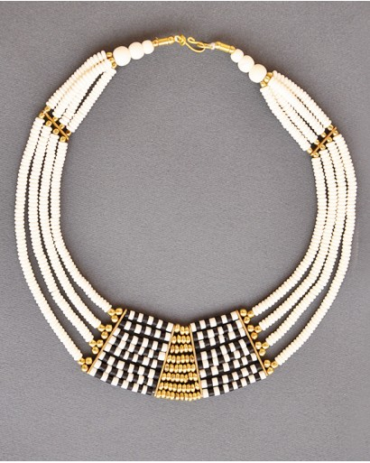 Bone multi layered black and white necklace