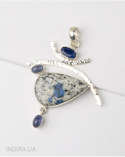 Agate and Sapphire Pendant