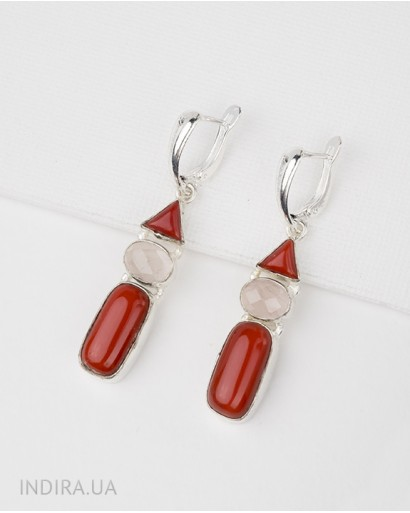 Coral and Rose Quartz Earrings