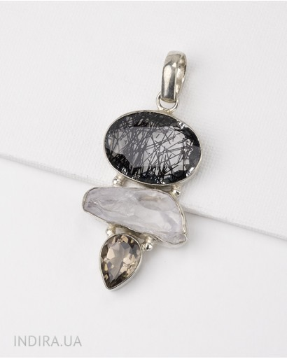 Rutile Quartz and Smoky Quartz Pendant