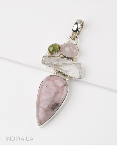 Rhodonite, Rose Quartz, Prenite and Druse Quartz Pendant
