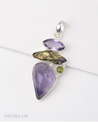 Amethyst, Rainbow Titanium Druse and Chrysolite Pendant