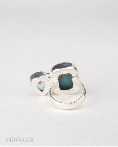 Turquoise and Blue Quartz Ring