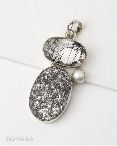 Rutile Quartz, Pearl and Gray Agate Druse Pendant