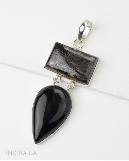 Jespilite and Black Agate Pendant