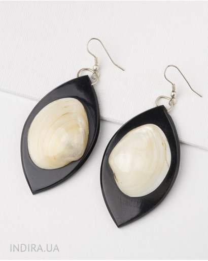 Horn and Shell Earrings
