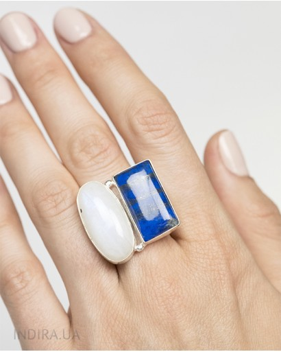 Кольцо с лазуритом и лунным камнем