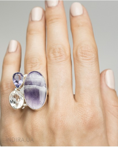 Rhinestone and Amethyst Ring
