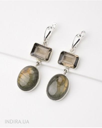 Smoky Quartz and Labradorite Earrings