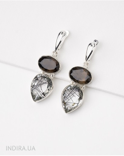 Smoky Quartz and Rutile Quartz Earrings