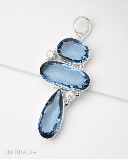 Кулон с имитацией голубого кварца