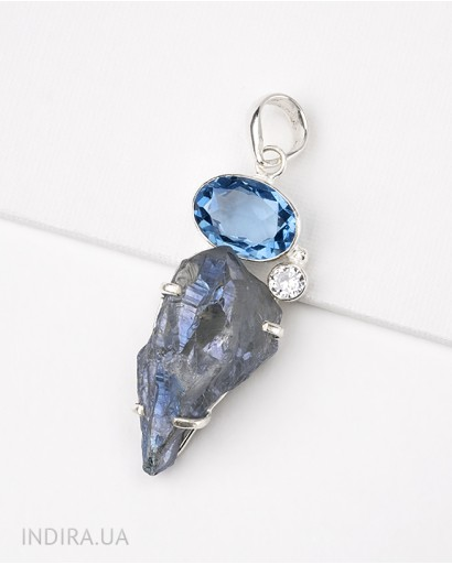 Blue Quartz and Titanium Druse Pendant