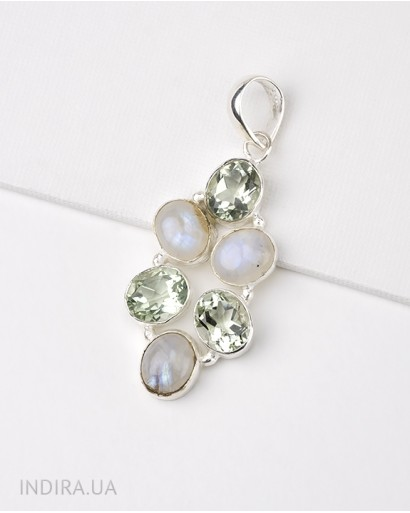 Moonstone and Green Amethyst Pendant
