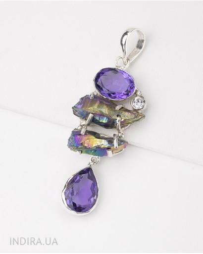 Amethyst and Rainbow Titanium Druse Pendant