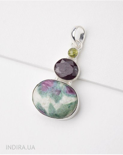 Zoisite, Ruby ​​and Chrysolite Pendant