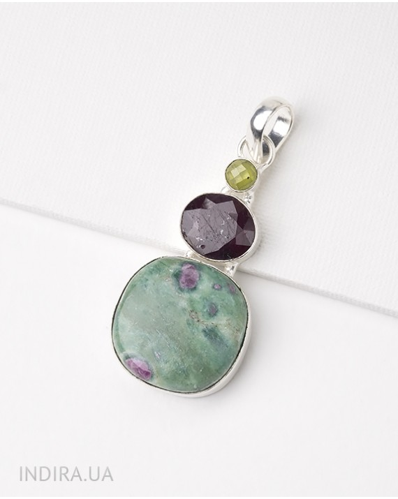 Zoisite, Ruby and Chrysolite Pendant