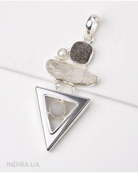 Titanium Druse, Quartz Druse and Hematite Pendant