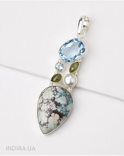 Turquoise, Chrysolite, Blue Quartz and Pearl Pendant