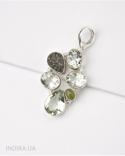 Pendant with Green Amethyst, Chrysolite and Titanium Druse