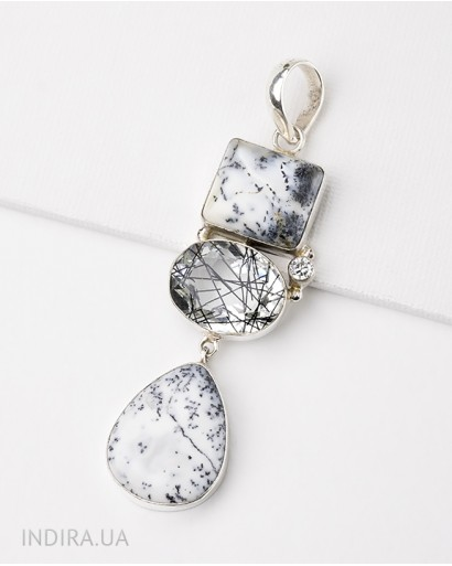 Pendant with Dendritic Opal and Rutile Quartz