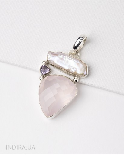 Rose Quartz, Baroque Pearl and Amethyst Pendant