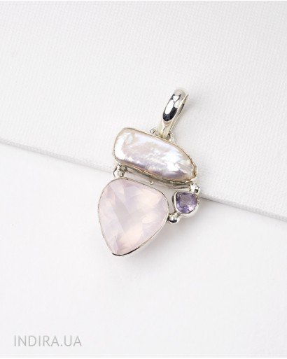 Pendant with Rose Quartz, Baroque Pearl and Amethyst