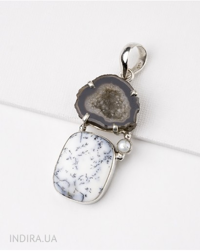 Dendritic Opal and Agate Druse Pendant