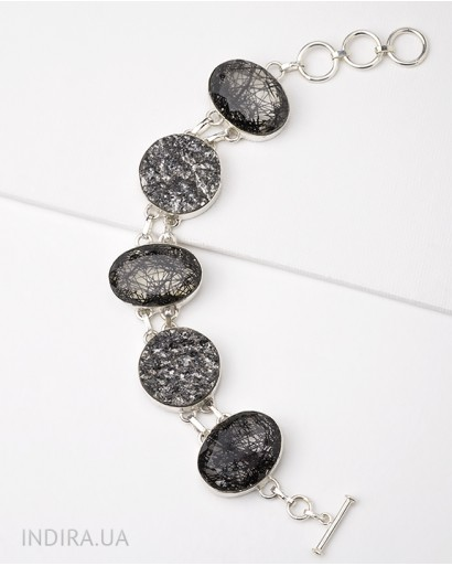 Rutile Quartz and Gray Agate Druse Bracelet