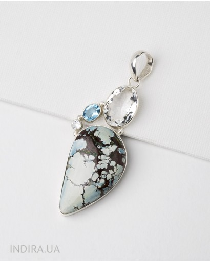 Turquoise, Rhinestone and Blue Quartz Pendant