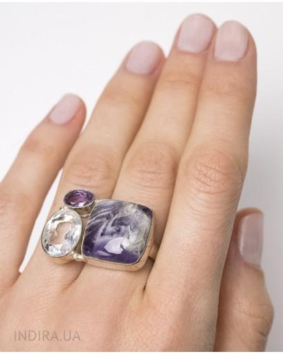 Кольцо с аметистом и горным хрусталем