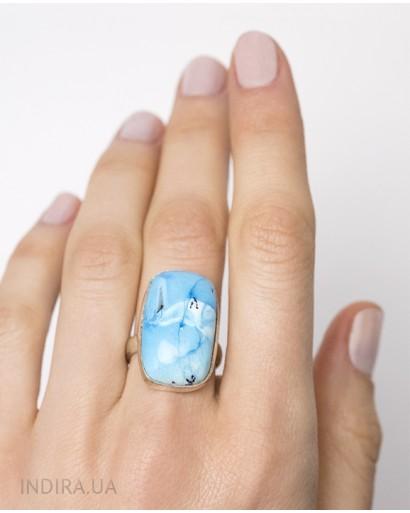 Blue Dendritic Opal Ring