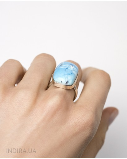 Blue Dendritic Opal Ring