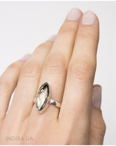 Кольцо с зеленым аметистом