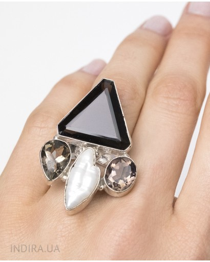 Black Agate, Smoky Quartz and Pearl Ring