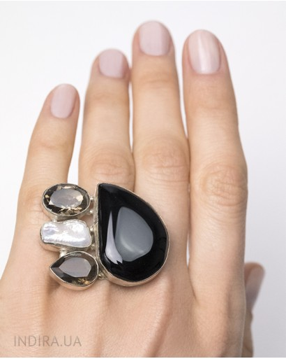 Black Agate, Smoky Quartz and Pearl Ring