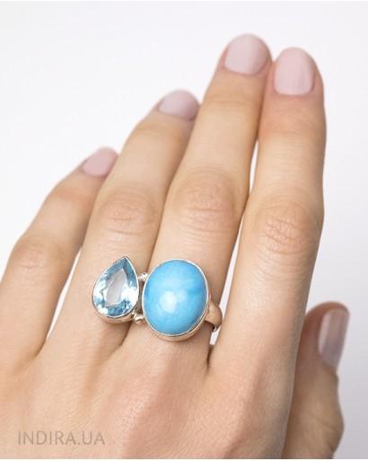 Кольцо с бирюзой и голубым кварцем
