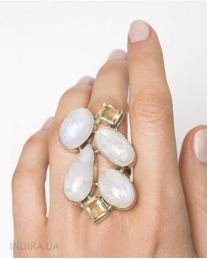 Кольцо с лунным камнем и цитрином